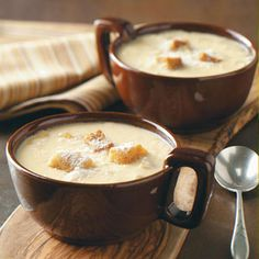 Onion Cheese Soup-1 chopped onion, 3 T butter, 3 Flour, salt & pepper, 4 C milk,  2 C (8oz) shredded Colby cheese, Seasoned salad croutons:  Saute onion in butter. Mix in flour, salt & pepper. Gradually add milk. Bring to a boil; cook & stir-2 minutes or until thickened.  Stir in cheese until melted. Serve w/croutons & Parmesan.