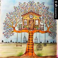 casinha na árvore -  floresta encantada - enchanted forest - Johanna Basford - secret garden