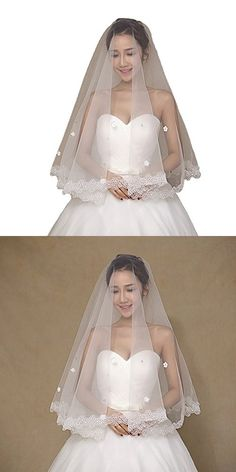 WoodBurry Wedding Bridal Veils Short 2017 Appliques Lace One Layer Flowers Ivory