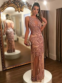 elegant mermaid prom dress with appliques, fashion mermaid open back champagne party dress with appliques