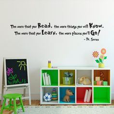 Dr. Seuss Quote Wall Decal - Large - The more that you Read - Dr. Seuss Wall Art. $25.00, via Etsy.