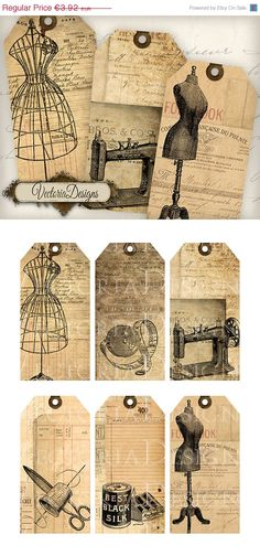 ON SALE Vintage Sewing Tags shabby chic by VectoriaDesigns on Etsy