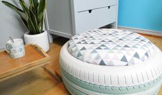 home accessories decor 303641199860819992 - Et voilà le pnouf ! © Barbara Pagnier Source by devreses Tire Ottoman, Diy Pouf, Tire Furniture, Home Decor Baskets, Tire Chairs, Diy Casa, Tyres Recycle, Old Tires, Home Accessories