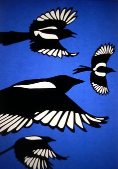 I love how they have used cut-out paper to create these lovely magpies. I like how the background is bright blue and the birds are black and white and so stand out nicely. It could look nice the other way round (bright blue birds and a black background).