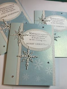 Inspired by Tina Shaw, StampinUp Star of Light, unknown shimmery paper. Christmas Card Crafts, Christmas Labels, Christmas Cards To Make, Christmas Greeting Cards, Holiday Cards, Snowflake Cards, Card Sentiments, Winter Cards, Homemade Cards