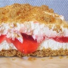 CHERRY YUM YUM	   1 carton Cool Whip  1 1/2 c. graham crackers  1 can cherry pie filling  1/4 c. butter  3/8 c. sugar  1 (3 oz.) pkg. cream cheese    Mix crumbs and butter and 1/8 cup sugar in 8x8 inch pan. Beat cream cheese and 1/4 cup sugar. Add Cool Whip and mix well. Pour cherries over crumb mixture. Pour cream cheese mixture over cherries. Sprinkle with leftover crumbs. Chill before serving.Cherry Yum Yum Recipe