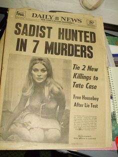 Aug Actress Sharon Tate, the actress and pregnant wife of movie director Roman Polanski, is found murdered along with four other people at her LA home. Manson, what a ass hole. He ruined the Charles Manson, Famous Murders, Newspaper Headlines, Foto Real, Roman Polanski, Today In History, Sharon Tate, Old Actress, Criminal Minds