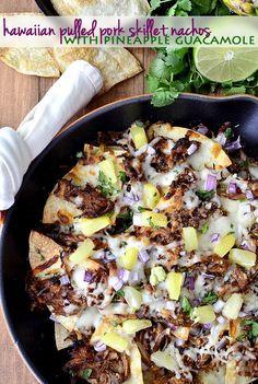 Hawaiian Pulled Pork Skillet Nachos with Pineapple Guacamole (Crock Pot Recipe!) #crockpot #slowcooker #glutenfree | iowagirleats.com