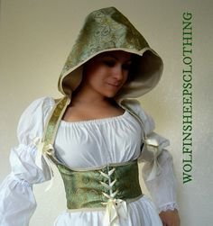 Hooded Steel Boned Underbust Corset   This steel boned hooded under bust corset laces in the front and the back with brass grommets, laced with coordinating satin ribbon.  The exterior of the corset is made of a light green satin brocade fabric, trimmed with a coordinating bias binding.  Visit my Etsy store to get a closer look.