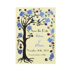 Tree Of Life Save The Date Card (v-rose/ivory)