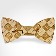 Checked Wooden Bow Tie