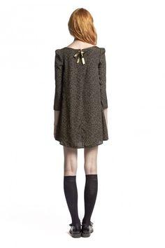 53a67387c2446 Robe RIFIFI BIS KAKI - Robe Femme - Claudie Pierlot Cuir D agneau, Laine