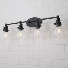 Farmhouse Bathroom Light, Farmhouse Vanity Lights, Rustic Bathroom Lighting, Rustic Bathrooms, Rustic Lighting, Bathroom Vanity Lighting, Light Bathroom, Black Bathroom Light Fixtures, Bathroom Lights Over Mirror