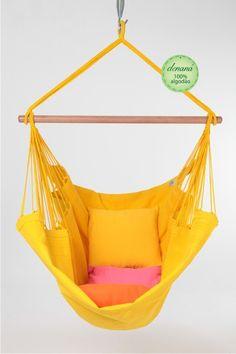 Cadeira - AMARELA - Denaná - A Sua Rede de Descanso Hammock Swing Chair, Swinging Chair, Awesome Bedrooms, Fun Games, Crafts, Furniture, Balconies, Design, Home Decor