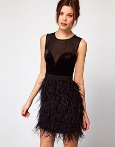 Warehouse Feather Hem Dress