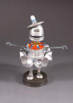 ROBOT SCULPTURE  Metal art sculpture Junk by CastOfCharacters23, $95.00