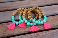 Neon Pink beaded tassel bracelet - Arm Party - Bohemian Jewelry - Trendy Items