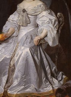 "Portrait of Princess Royal Mary Henrietta Stuart"" (1652) (detail) by Bartholomeus van der Helst (1613-1670)."