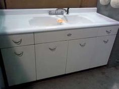 Vintage Cast Iron Enameled Sink And Metal Cabinets Much Like Mine But Larger