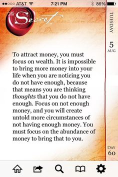 To attract money, you must focus on wealth... http://www.thesecret.tv #TheSecretBookSeries pic.twitter.com/qxGCNWvY6t