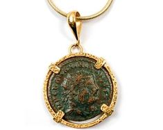Etsy :: Your place to buy and sell all things handmade Ancient Roman Coins, Gold Coin Necklace, Antique Coins, Gold Coins, Silver Diamonds, Solid Gold, Antiques, Handmade