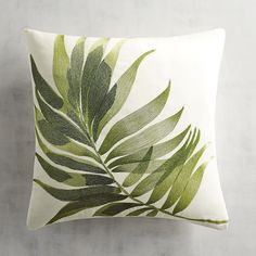 Tacori Leaf Decorative Square Pillow Green