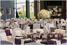 Loved this reception at the Hard Rock Hotel in San Diego. Wedding colors of Purple and Grey.