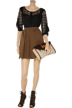Erin silk-chiffon and lace blouse by Rebecca Minkoff