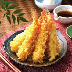 Shrimp Tempura.Dip-fried shrimp.Very tasty Japanese appetizer. Seafood Dishes, Seafood Recipes, Cooking Recipes, Fried Shrimp Recipes, Sushi Dishes, Salmon Recipes, Asian Recipes, Japanese Appetizers, Shrimp Tempura