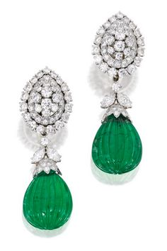 Pair of Platinum, Diamond and Emerald Pendant-Earclips, David Webb  Suspending two fluted emerald drops measuring approximately 24.3 by 18.0 by 9.9 mm, the caps and surmounts set with round and marquise-shaped diamonds weighing approximately 11.20 carats, signed Webb; pendants detachable.
