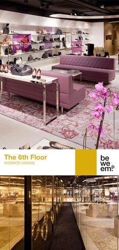 """""""The 6th Floor"""" is an exclusive shoe shop located on the sixth floor of the renowned Steffl - the department store in Vienna's Kärntner Strasse. """"The golden stockroom is in plain view and highlights the idea of the shoes as valuable luxury goods. The vault forms the central hub from which the other """"shoe worlds"""" spread out."""" - Erich Bernard, BWM Architekten PROJECT_The 6th Floor DEPARTMENT_Interior Design LOCATION_Steffl Vienna Images: © Thomas Schauer Mobile Shelving, Exclusive Shoes, Shoes World, Department Store, Vaulting, Shoe Shop, Vienna, Highlights, Flooring"""
