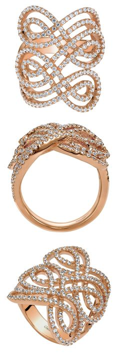 The perfect accessory to your wedding gown, a 14k Rose Gold Diamond Allure Ring from Gabriel & Co. This unique diamond ring has gorgeous details and designs. Make sure to wear the perfect jewelry on your special day!