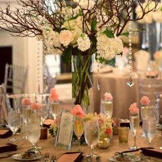 Wedding reception centerpiece flowers   Hyer Images
