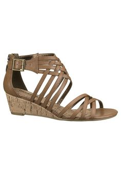 Tori Gladiator Sliver Wedge Sandal available at #Maurices