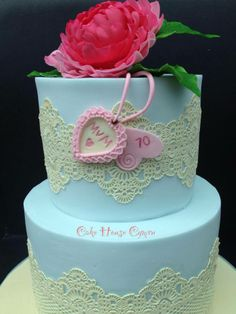 #Lace birthday cake with pink flower and edible tags
