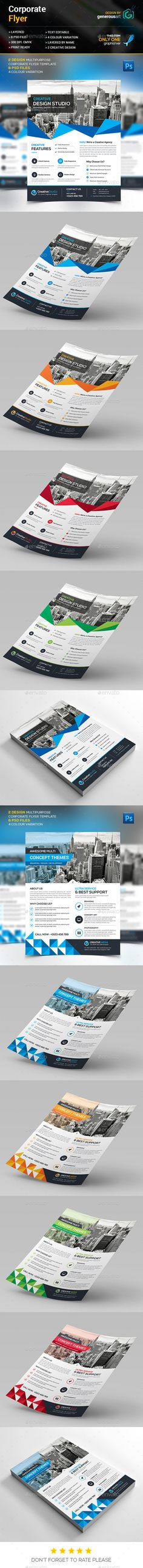 Corporate Flyer Template PSD #design Download: http://graphicriver.net/item/corporate-flyer/13335526?ref=ksioks