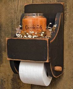 Primitive bathrooms 163677767696550020 - Black Wood Toilet Paper Holder Source by Shabby Chic Furniture, Rustic Furniture, Antique Furniture, Furniture Ideas, Primitive Bathroom Decor, Primitive Decor, Rustic Toilet Paper Holders, Ideas Dormitorios, Rustic Toilets