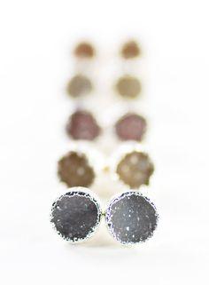 Wehilani earrings small silver druzy stud