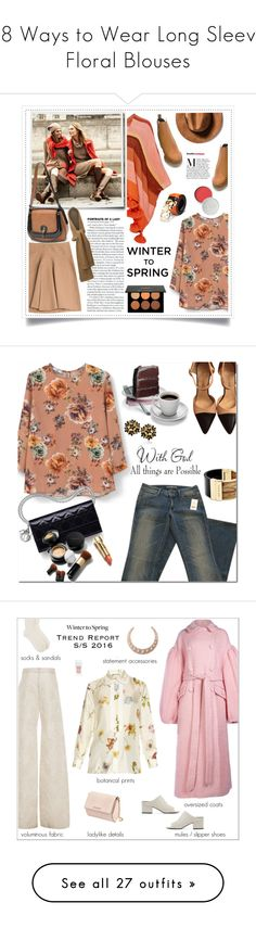 """""""18 Ways to Wear Long Sleeve Floral Blouses"""" by polyvore-editorial ❤ liked on Polyvore featuring floralblouse, waystowear, tops, blouses, flower print top, mango tops, beige blouse, round top, flower print blouse and Weekend Max Mara"""