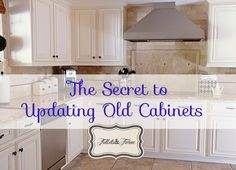 Tidbits & Twine: How to update your old cabinets to give them a custom look! Details and photos here: http://tidbitsandtwine.com/updating-80s-builder-grade-kitchen-cabinets/