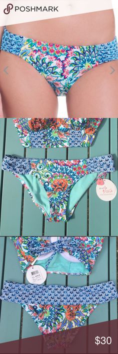 Peacock Side Tab Bikini Bottom * Imported * Pull on, full coverage, contrast patterned ruched side tabs * Low-rise silhouette, peacock print Profile Blush by Gottex Swim Bikinis