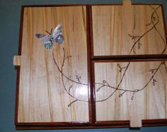 Custom jewelry box with Abalone inlay. Three independent boxes fit in one frame. $275