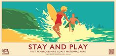 Our award-winning posters and postcards were initially created to celebrate the Pembrokeshire Coast National Park's anniversary in You . Vintage Travel Posters, Vintage Postcards, Retro Posters, National Park Posters, National Parks, Pembrokeshire Coast, Summer Poster, Railway Posters, Art Deco Buildings