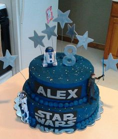 Star Wars Birthday - All buttercream with gumpaste & fondant decorations. The 3 action figures were purchased by my friend.