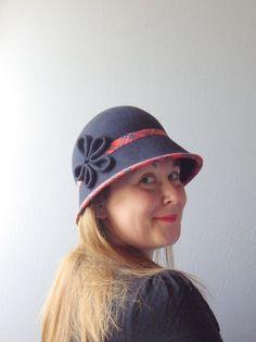 36489b39b2f Navy Blue Wool Felt Cloche Hat by SophieShields on Etsy