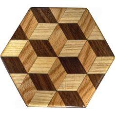 Tumbling Block Trivet by woodmosaics on Etsy, $15.00