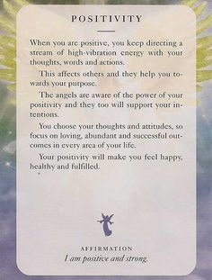 Angel Card: 08 July 13: Positivity