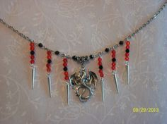 Red & Black Crystal Dragon Spike Necklace   by DysfunctionalAries, $28.00