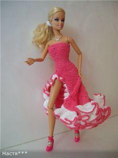 Sewing Barbie Clothes, Knitting Dolls Clothes, Barbie Clothes Patterns, Crochet Doll Clothes, Clothing Patterns, Crochet Barbie Patterns, Crochet Doll Dress, Knit Fashion, Fashion Dolls