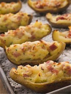 Canoas de batata!   batatas assadas com queijos e bacon!